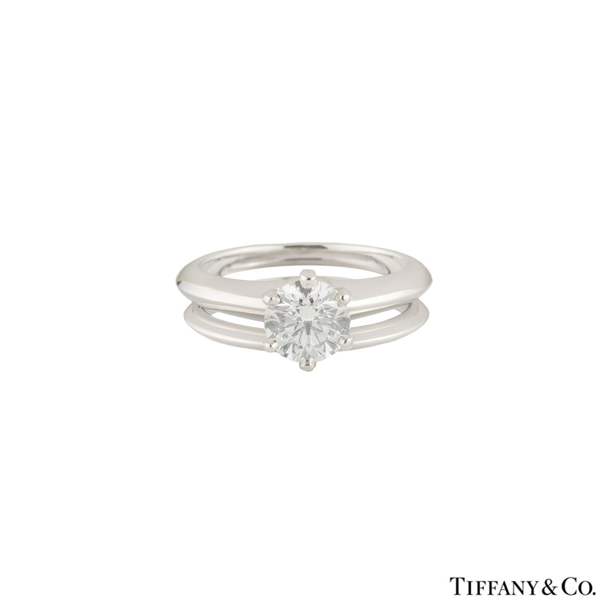 Tiffany & Co. Platinum Setting Band Diamond Ring 2.04ct E/VVS2 with Matching Band Ring